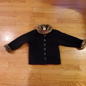 Gap girls lightweight coat with leopard collar